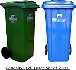 Nilkamal 120 Ltr Wheel Garbage Dustbin (Pack of 2) Blue/Green