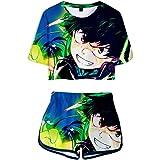 JOAYIN Bambine e Ragazze T-Shirt Maglietta e Pantaloncini Anime Stampato 3D Boku No Hero Abbigliamento Sportiva Colorata Esti