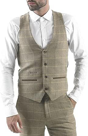 Marc Darcy Mens Designer Beige Oak Tweed Herringbone Check Waistcoat Vest Size 34-52 Available