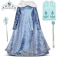 IWFREE Déguisements Princesse Elsa Petites Filles Robe Manches Longues Princesse Reine des Neiges Costume et Accessoires