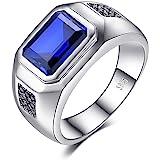 JewelryPalace Anelli Uomo, 4.3ct Sintetico Blu Zaffiro Naturale Nero Spinello Anello Uomo Argento 925, Anniversario Promessa
