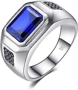 JewelryPalace Anelli Uomo, 4.3ct Sintetico Blu Zaffiro Naturale Nero Spinello Anello Uomo Argento 925, Anniversario Promessa Matrimonio Fidanzamento Anello, Gioielli Uomo