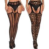 Women's Garter Belt Fishnet Tights Stockings High Waisted Suspender Pantyhose