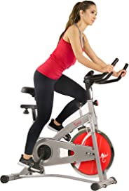 Sunny Health & Fitness Unisex Adult SF-B1421B Belt Drive Indoor Cycling Bike - Silver, One Size