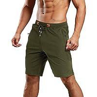 MAGCOMSEN Men's Summer Running Shorts Elastic Waist Cotton Gym Shorts Mens Zip Pockets Sports Joggers Shorts