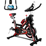Furiousfitness Exercise Bikes, Stationary Indoor Fitness Bike Cycling with Phone Holder/LCD Display/Heart Rate Monitor, Belt