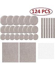 Lukzer 124 Pcs Scratch Proof Felt Pad Assorted Furniture Pads/Multi-Functional Self-Adhesive Pad/Floor Protector Furniture Pads/Furniture Table Sofa Leg pad