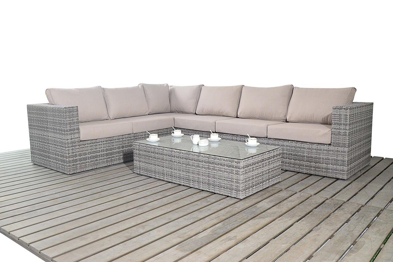 port royal rustic large left hand facing corner sofa set grey amazoncouk garden outdoors
