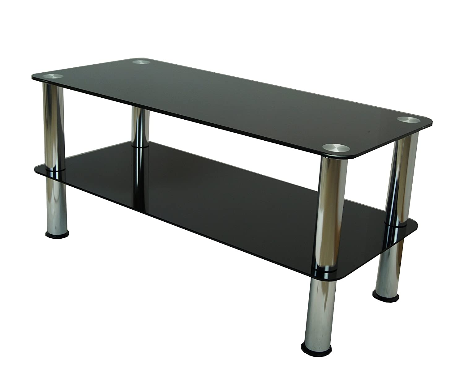 Mountright coffee table tv stand side table black glass mountright coffee table tv stand side table black glass silver leg amazon tv geotapseo Gallery