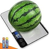 HOMEVER Balance Cuisine, 15kg Balance de Cuisine Electronique de Haute Précision, LCD Rétroéclairé Acier Inoxydable, Arrêt Au