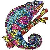 Puzzle en bois pour adulte - Motif animaux multicolores - Forme unique - Puzzle en bois magique - Idéal pour la collection de