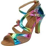 HXYOO Damen Tanzschuhe für Latein Salsa Regenbogen Farbe WK023