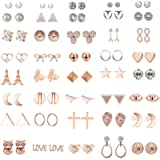 42/ 36Pairs Assorted Multiple Stud Earrings Jewelry set With Card for Women Girls Simple Hoop earring set