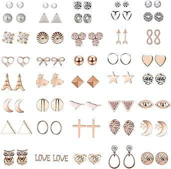 36 paia assortiti orecchini multipli orecchini gioielli con carta per le donne ragazze semplice set di orecchini a cerchio