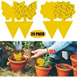24 Pack Dual-Sided Yellow Sticky Traps Gnat Trap PVC Waterproof for Insect Against Fungus Gnats,Whiteflies,Aphids,Leafminers,