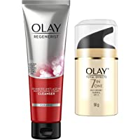 Olay Face Wash Regenerist Exfoliating Cleanser, 100g and Olay Day Cream Total Effects 7 in 1, Day cream normal SPF 15…