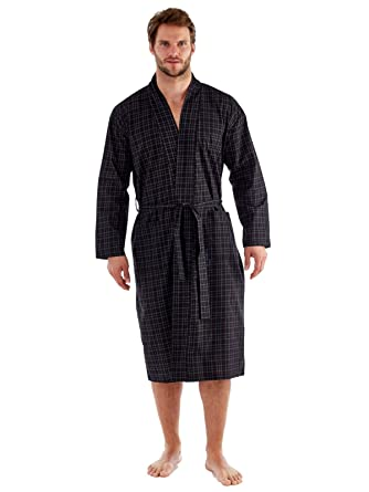 Harvey James Easy Care Poly Cotton Men\'s Dressing Gown Robe Wrap ...