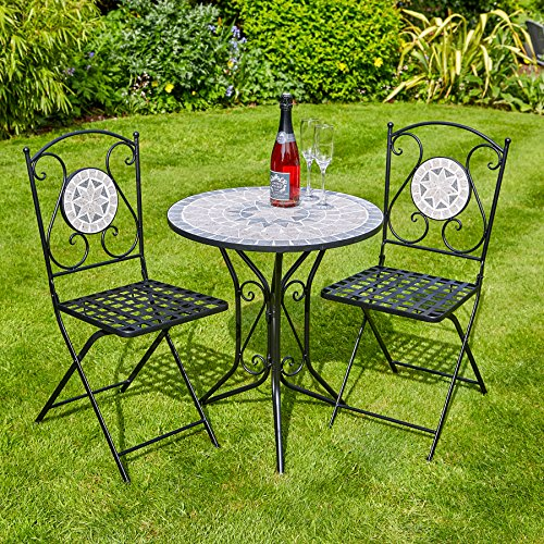 Home Source Mosaic Bistro Set Outdoor Patio Garden Furniture Table and 2 Chairs Metal Frame (Athens)