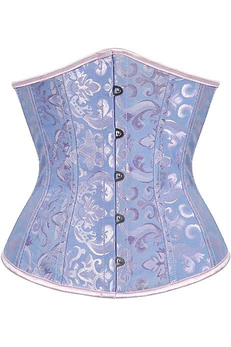 cors/é bajo el pecho Azul azul 50 Kelvry Cors/é de sat/én para mujer con cordones