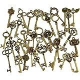 CAILI Gemengde verpakking met 40 antieke bronzen skeletsleutels rustieke sleutels voor bruiloft decoratie gevallen, halsketti