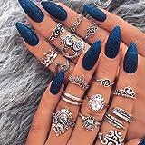 Flrora Boho Opal Anillo de dedo conjunto de plata cristal pluma nudillos anillos tallados flor joyería accesorios para mujere
