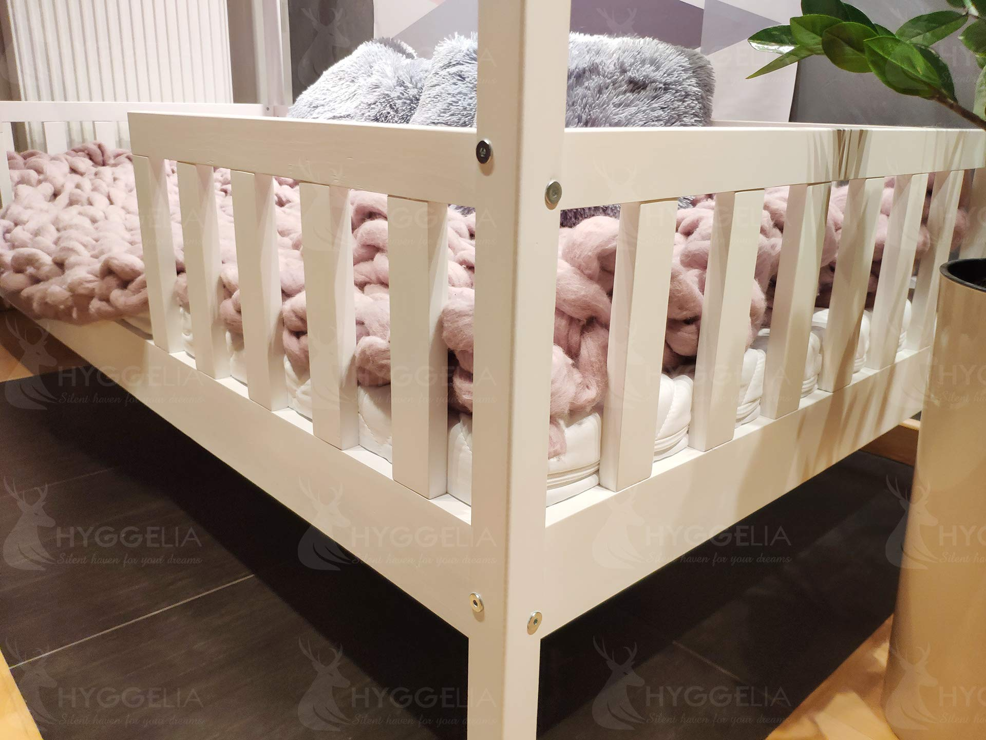 House BED with barriers Chester Wooden bed for children bed for teenager Bedroom furniture cottages wooden cottage bed (193 x 203 cm (King Size)) Hyggelia Material: First class natural pine chipless wood Colour: Natural wood Permissible weight: 180kg 2