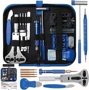 E·Durable Kit de réparation de Montre Outil de réparation Professionnels Remplacement des Pile Outil Removaler Barres de Ressort Épingles Kit d'outils