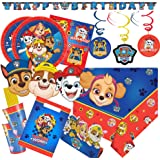 Amscan/Hobbyfun 72-teiliges Party-Set Paw Patrol - Teller Becher Servietten Trinkhalme Einladungen Tüten Girlande Deko-Spiralen Masken für 8 Kinder