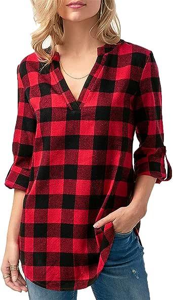 Lantch Damen Shirt Kurzarm /& Langarm Bluse Sommer Karierte Hemd Oberteil V-Ausschnitt Casual Kurzarmshirt Hemdbluse