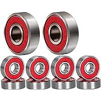 Qpower 20Pcs Skateboard Bearing, Roue à Rouleaux en Acier de Patinage résistant à l'usure à Grande Vitesse 608 ABEC-9, roulements de Patin à Roues alignées