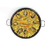 Poêle à paella 46 cm, acier au carbone, revêtement antiadhésif, grande poêle à paella pouvant servir de plat de service