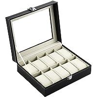 Kurtzy Watch Case Box Faux Leather Finish and Glass Window Black :10 Slot