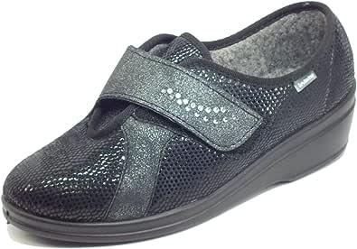 inblu Pantofole Donna Chiuse Invernali morbide Calde comode Foderate Tessuto Regolabili Velcro Strappo 002D