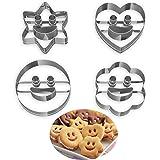 Lot de 4 Emporte Piece Patisserie, Moule à Biscuits en Métal Emporte-Pièces en Acier Inoxydable Fondant Biscuit Cookie Pâtiss