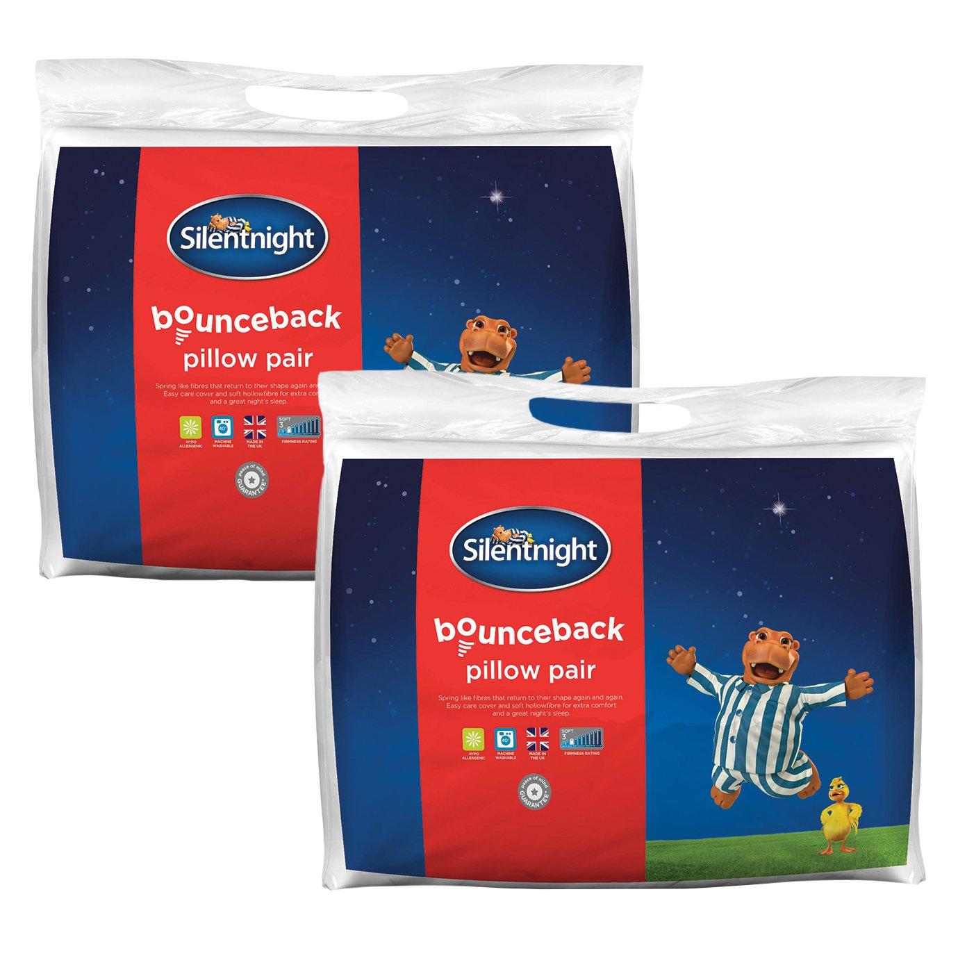 silentnight bounceback pillow pack of 2 amazon co uk kitchen u0026 home