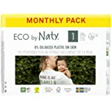 Eco by Naty Baby Nappies, Size 1, 100 Ct, Plant-based with 0% Oil Plastic on Skin, One Month Supply