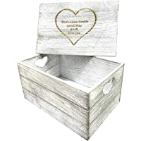 Personalised Engraved Antique Wooden Gift Box Crate Heart Gift Keepsake Memory Baby