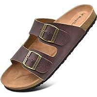 KUAILU Mens Slides Sandals Arizona Comfort Slip On Cork Footbed Sandals with Two Adjustable Leather Straps for Outdoor…