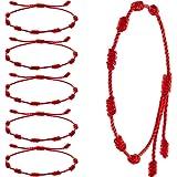 6 قطع سوار أحمر اللون عيد الحب عيد الحب سوار حبل أحمر قابل للتعديل كباله الأحمر عقدة سلسلة سوار التعويذة للحماية العين الشر و