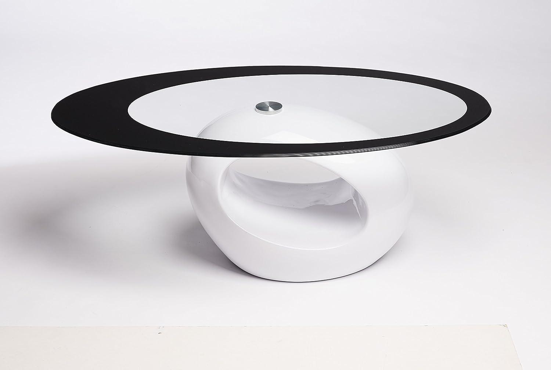designer oval coffee table (white black glass) amazoncouk  - designer oval coffee table (white black glass) amazoncouk kitchen  home