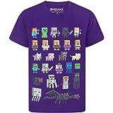 Minecraft Camiseta para niños de Sprites,100% Algodón [12-13 años] [negro]
