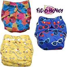 Fig O Honey Reusable One Size Baby Cloth Diapers | Multi-Color Baby Cloth Nappy with Free Absorbent Inserts | Washable Elastic Cloth Diapers | Reusable Elastic Printed Cloth Diapers | ( Emoji, Yarn ball & Sunglasses Print Combo )