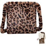 Plüsch Lässige Umhängetasche Leopardenmuster Tasche Plüsch Flauschige Damen Handtasche Leoparden Schultertaschen Flauschigen