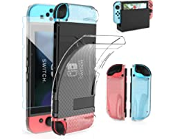 HEYSTOP Case Compatible with Nintendo Switch Dockable Clear TPU Protective Case Cover Compatible with Nintendo Switch Grip wi