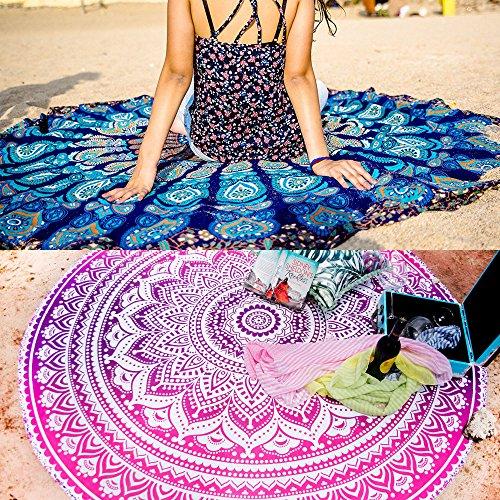 Set von 2Ombre Mandala rund Tapisserie Hippie indischen Mandala Roundie Picknick Tisch Bezug Hippie-Spread Boho Gypsy Baumwolle Tischdecke Strandtuch Meditation Runde Yoga Mat–182,9cm, Rosa und Blau (Queen Schwarze Leder-bett)