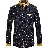 SSLR Men's Printing Regular Fit Button Down Casual Long Sleeve Shirt
