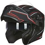 ILM Motorcycle Dual Visor Flip up Modular Full Face Helmet DOT 6 Colors
