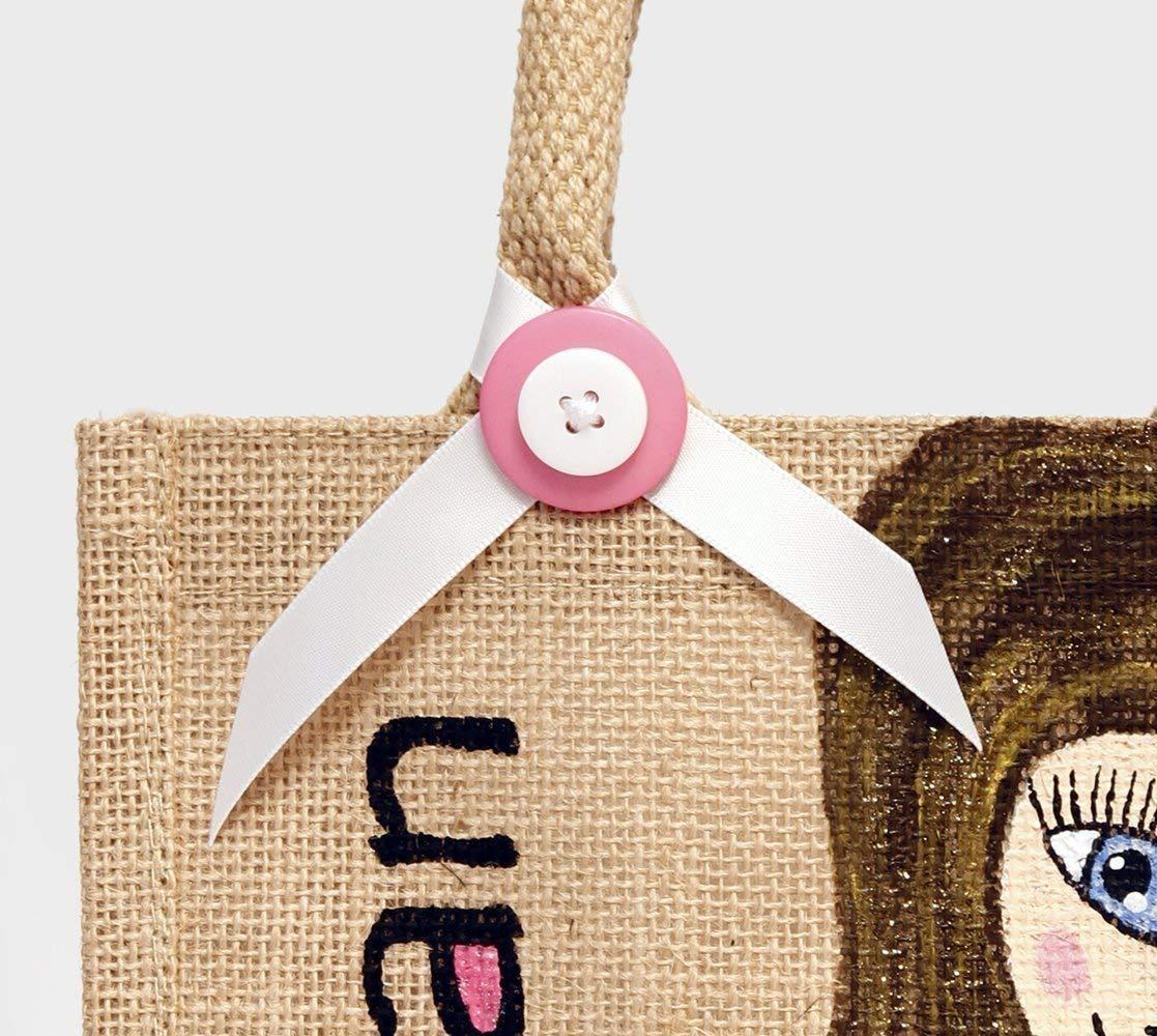 Personalised Caricature Hand Painted Jute Bag - 20cm x 22cm - handmade-bags