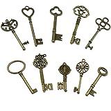PsmGoods® Vintage Skeleton Antique Keys Fascino DIY Lucchetto Old Style Guarda Bronzo 10pack