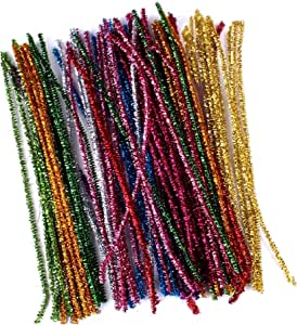 240 Pcs 12 Colors Colored Tinsel Chenille Stems Metallic Pipe Cleaners,Glitter Sparkle Christmas Pipe Cleaners for DIY Craft Projects,Wedding,Home,Party,Holiday Decoration,6 mm x 12 Inch